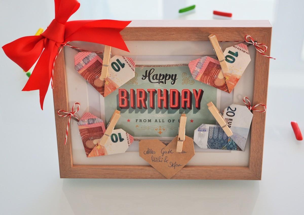 Geld schön verschenken - Bilderrahmen mit Geburtstagsgruß & Herzchen-Wäscheleine [DIY]